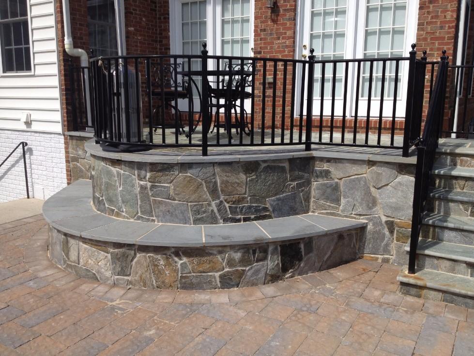 Brick Pavers & Stone Bench