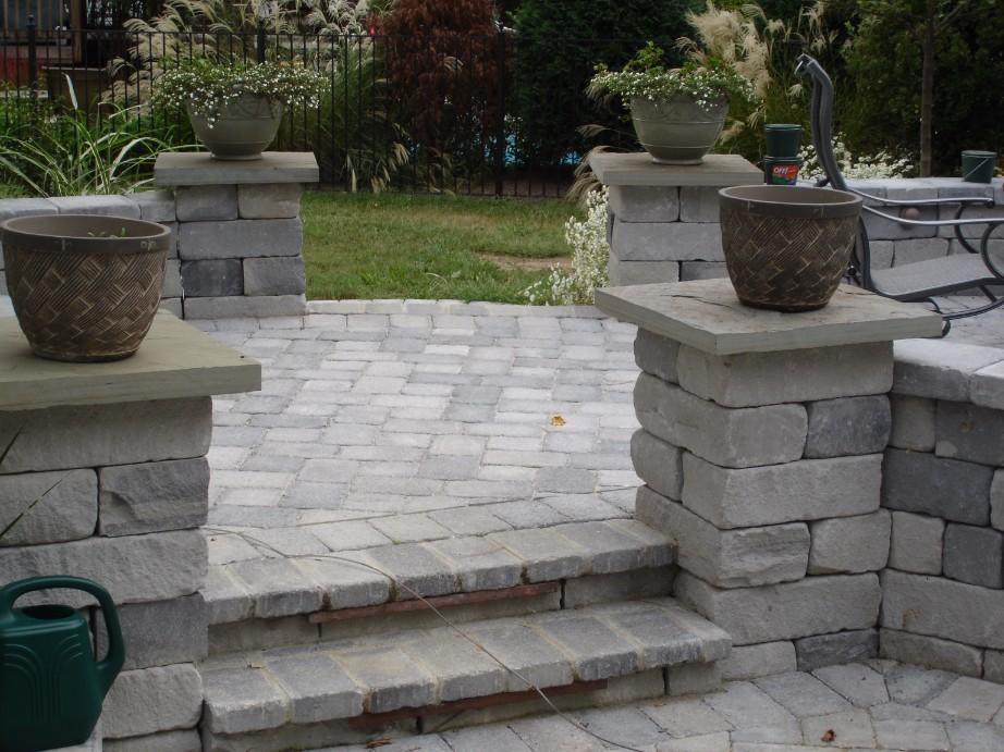 Brick Paver Patio, Pillars and Steps