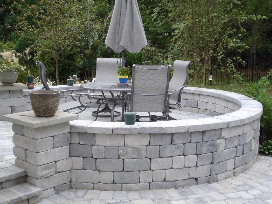 Brick Paver Circular Wall Patio