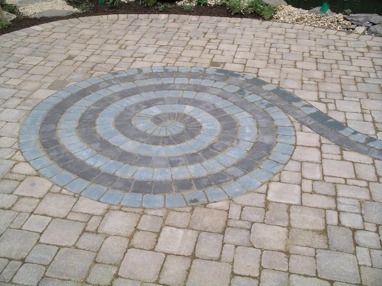Brick Pavers spiral design patio