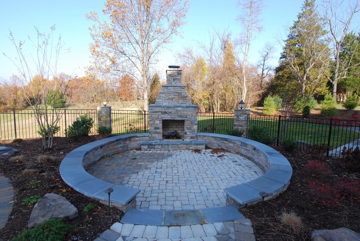 Brick Pavers & Inlays Custom Patio with Fireplace