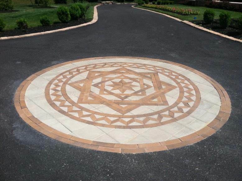 Custom Brick Paver Design in Driveway