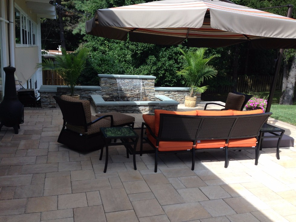 Brick Pavers Patio with Water Feature
