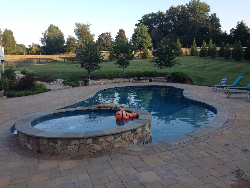 In-ground Pool with Attached Hot Tub