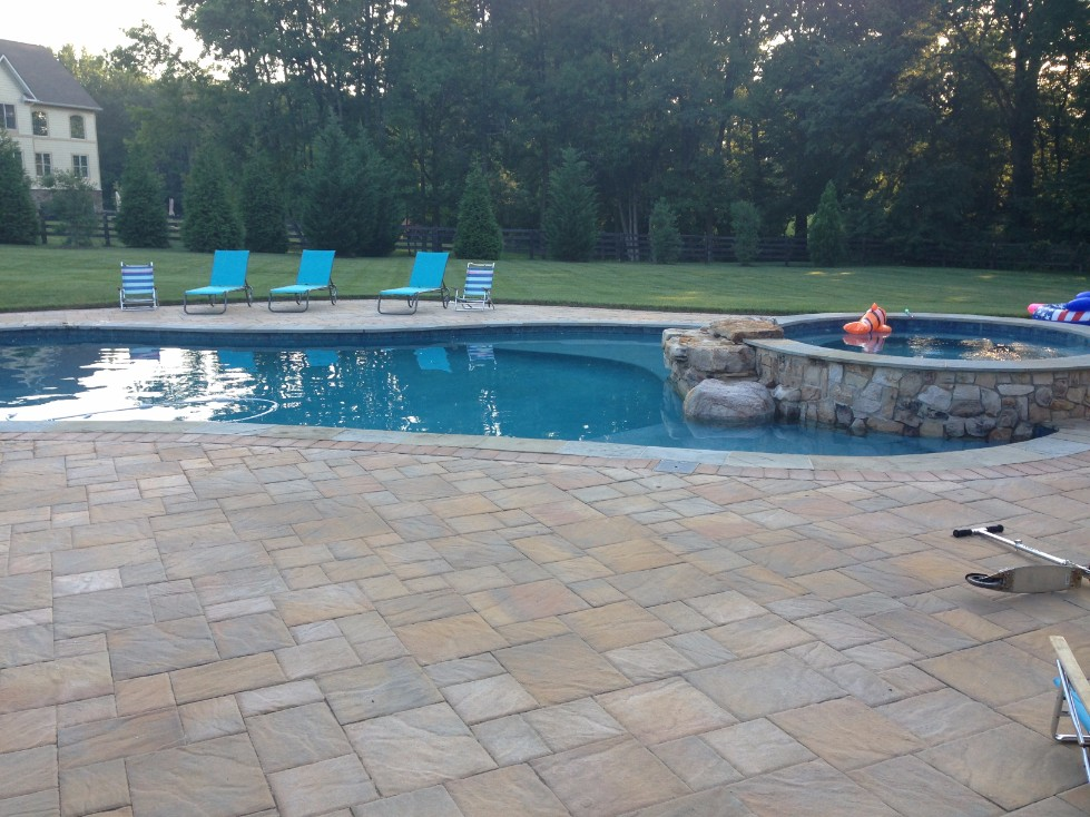 Custom Built  In-ground Pool with Attached Hot Tub