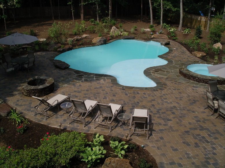 Inground Pool Hot Tub and Firepit