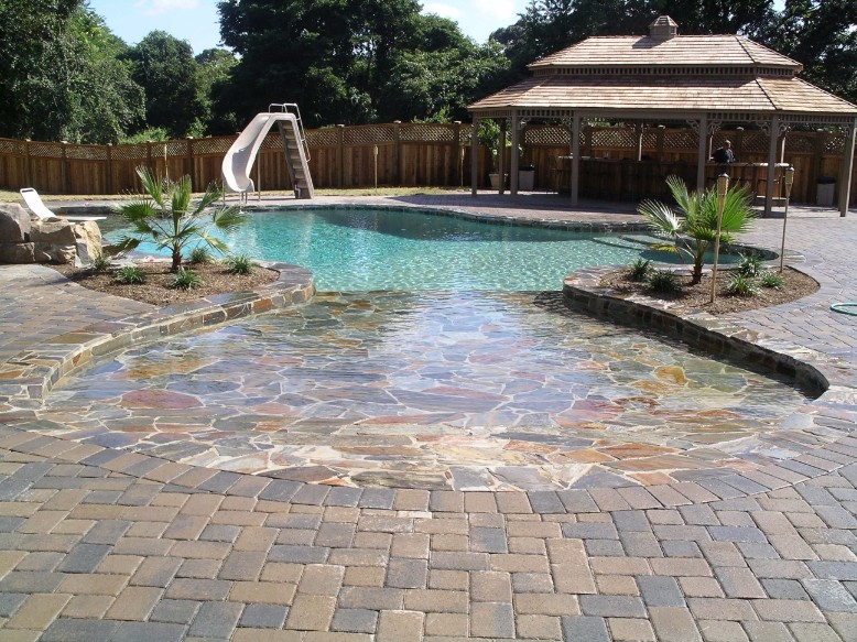 Patio pond landscaping design annapolis baltimore md Beach entry swimming pool designs