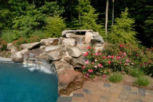 swimming pool with natural waterfall