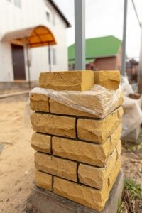 Unfinished brick column
