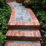 brick walkway with stairs